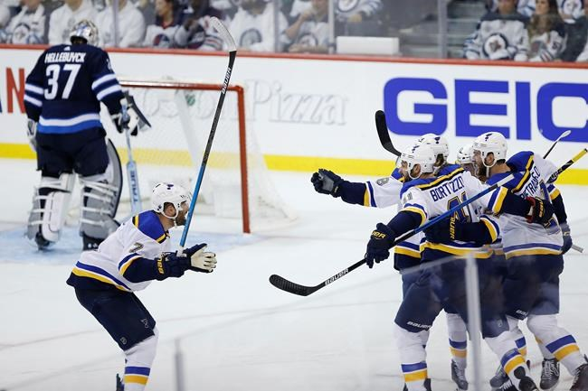 St. Louis Blues celebrate Tyler Bozak's (21) game winning goal against the Winnipeg Jets during third period NHL playoff action in Winnipeg on Wednesday, April 10, 2019. THE CANADIAN PRESS/John Woods