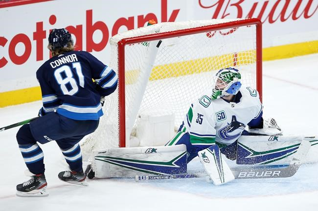 Winnipeg Jets' Kyle Connor (81) goes high to score on Vancouver Canucks goaltender Thatcher Demko (35) during third period NHL action in Winnipeg, Friday, Nov. 8, 2019. THE CANADIAN PRESS/John Woods