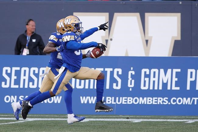 JOHN WOODS / THE CANADIAN PRESS FILES</p><p>Winnipeg Blue Bombers' Winston Rose (30) celebrates his interception of the pass intended for Saskatchewan Roughriders' Shaq Evans (1) during the second half of CFL action in Winnipeg Saturday, September 7, 2019.</p>