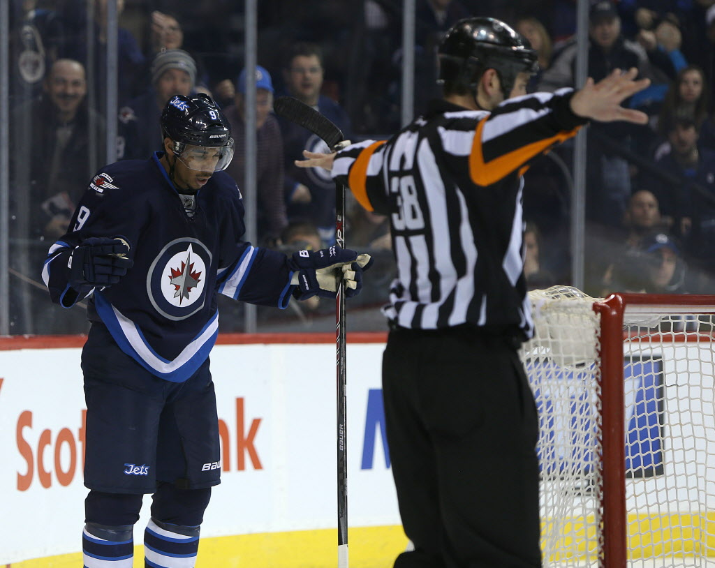 Winnipeg Jets forward Evander Kane looks in disbelief as the referee waves off a goal during the second period.