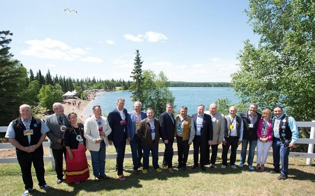 Canada's Premiers and Indigenous Leaders pose for a group picture in Big River, First Nation, SK, Tuesday, July, 9, 2019. THE CANADIAN PRESS/Jonathan Hayward