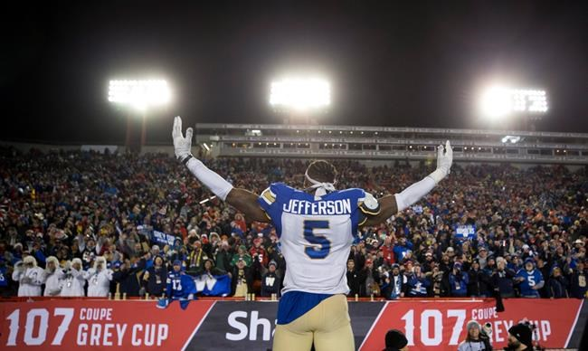 Winnipeg Blue Bombers' Willie Jefferson celebrates winning the 107th Grey Cup against the Hamilton Tiger Cats.  Winnipeg looks good on the Jefferson family. (Todd Korol / The Canadian Press)