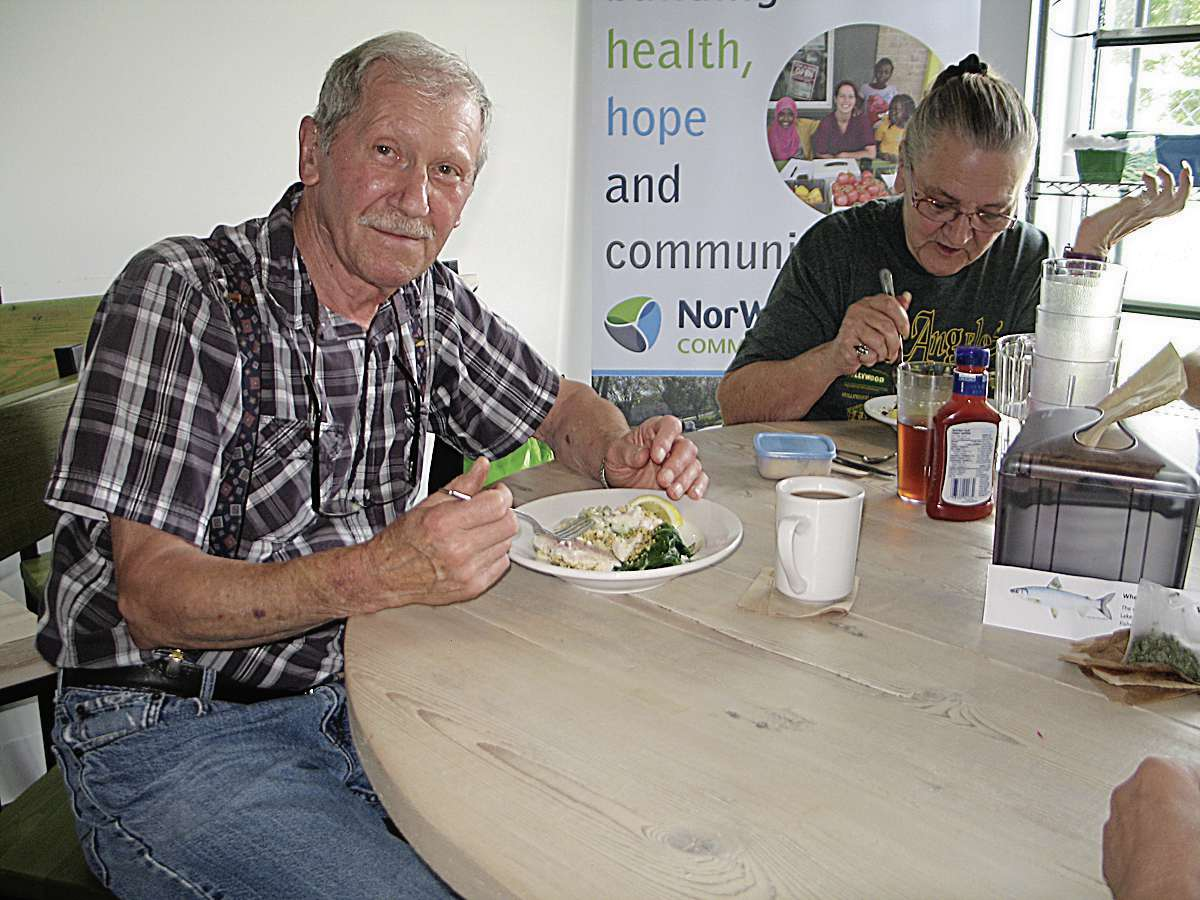 Ron Sobotkiewicz and Ollie Vowell, who reside in the Willow Centre seniors apartment next door to the community food centre, are regulars at the community lunch.