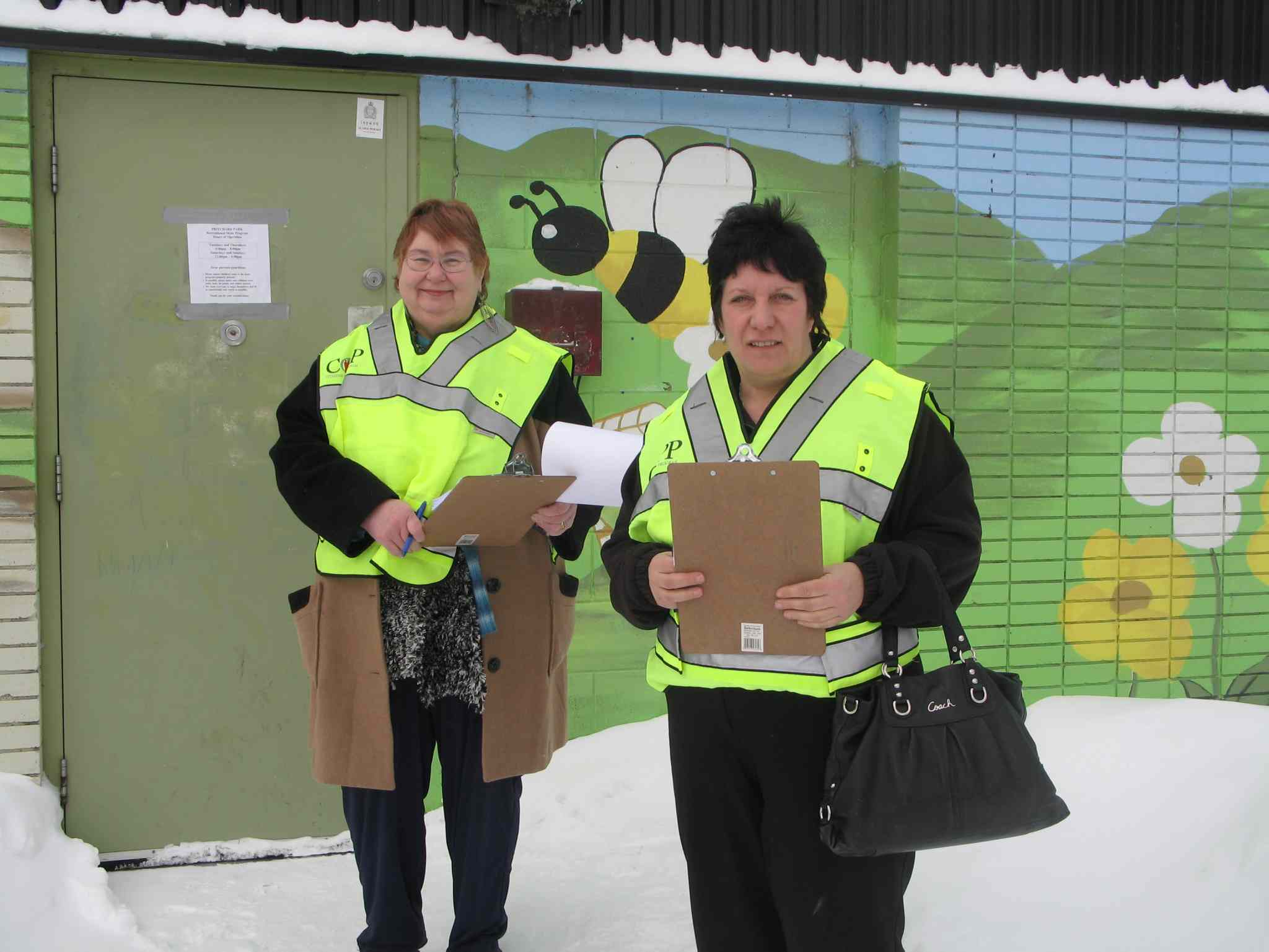 William Whyte residents Annette Champion-Taylor (right) and Doreen Szor take part in the Citizens on Patrol Program (COPP).