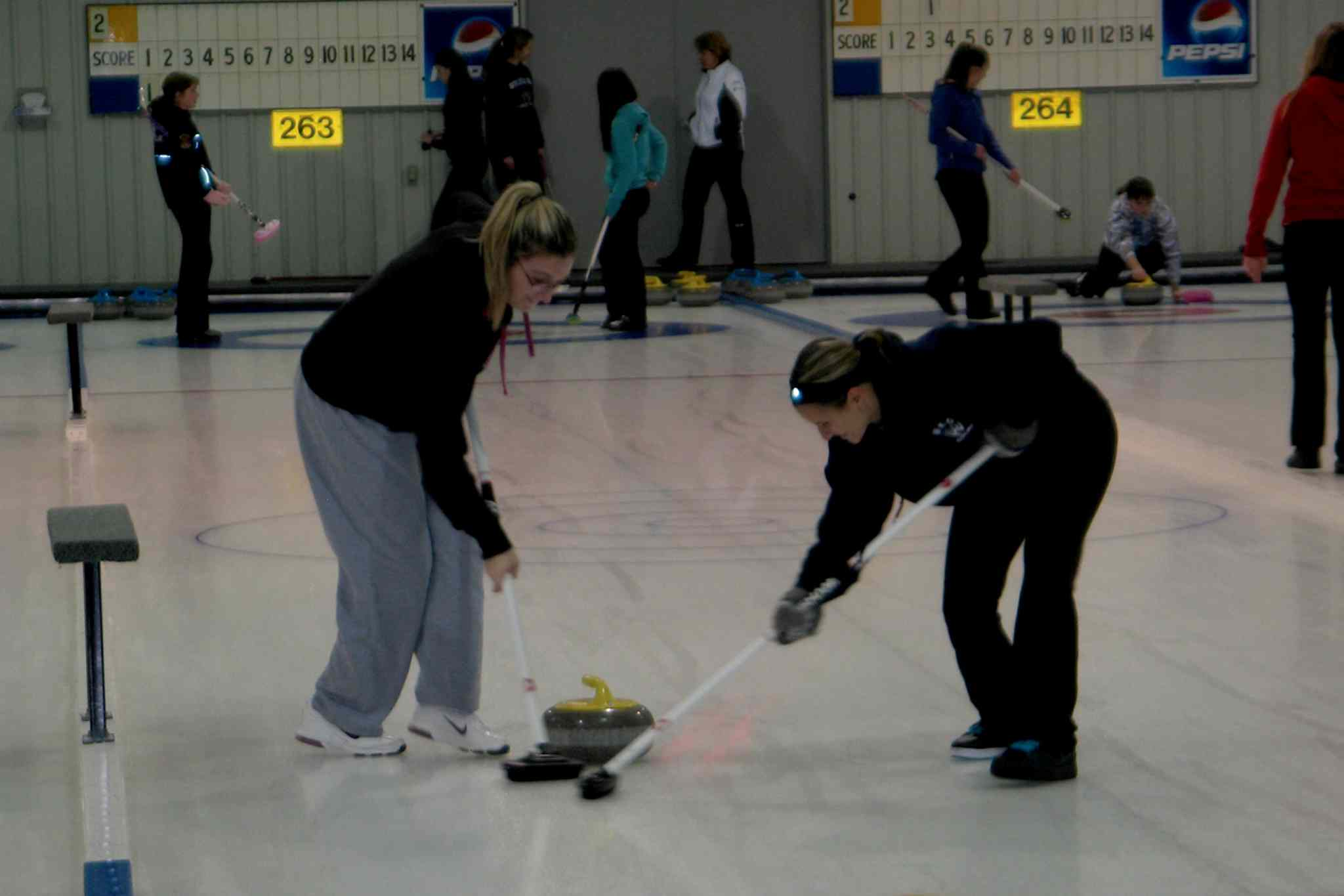 The West Kildonan Wolverines girls curling team in action against Lord Selkirk.