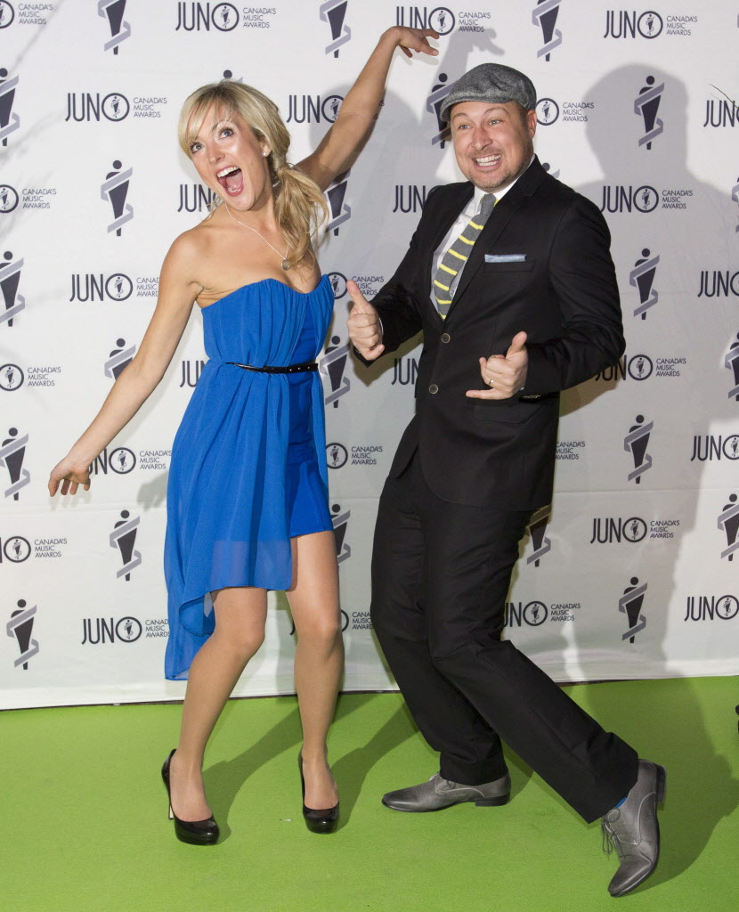 Members of Splash'n Boots have some fun on the green carpet at the Juno Gala. (John Woods / The Canadian Press)