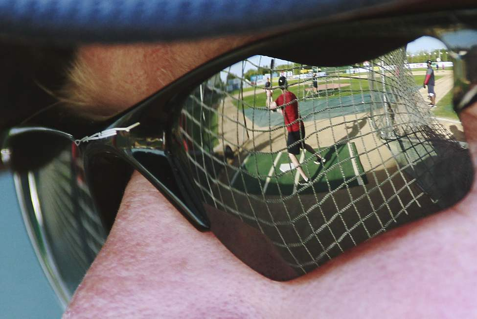 Winnipeg Goldeyes Rick Forney looks on as his team prepare for the championship series against the Wichita Wingnuts at Shaw Park in Winnipeg Monday September 10, 2012.    (John Woods / Winnipeg Free Press)