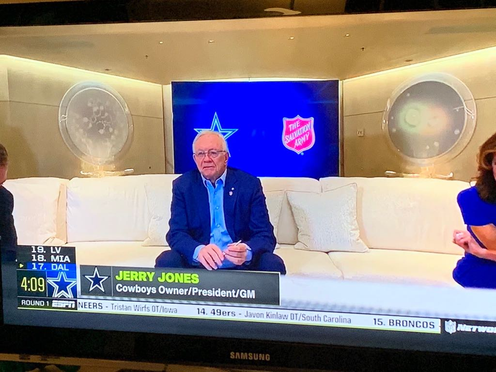 TWITTER Dallas Cowboys owner Jerry Jones is shown aboard his yacht during the 2020 NFL Draft, Thursday.