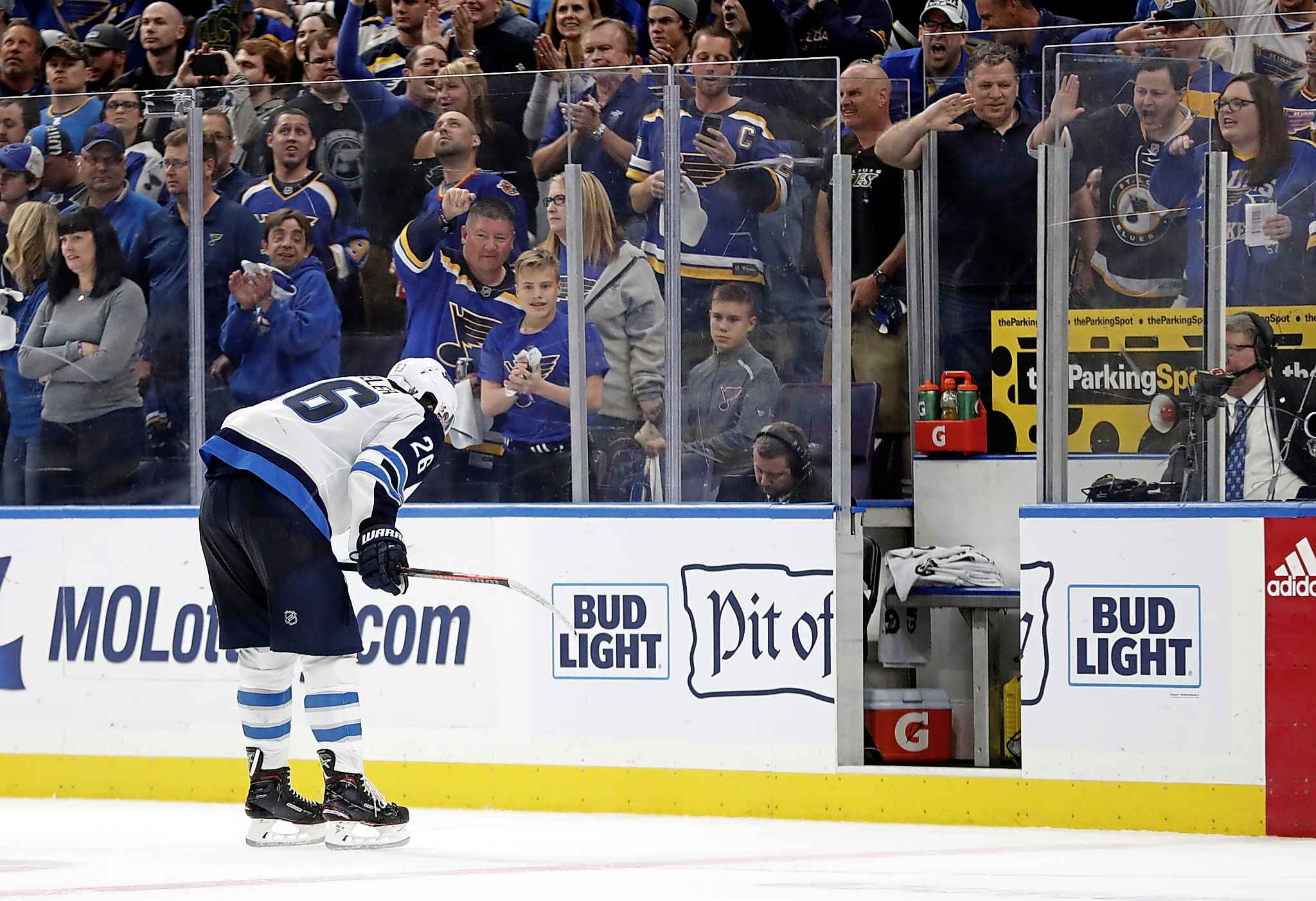 Blake Wheeler heads to the penalty box with just over two minutes remaining in the third period in Game 6 against the St. Louis Blues. (Jeff Roberson / The Associated Press files)