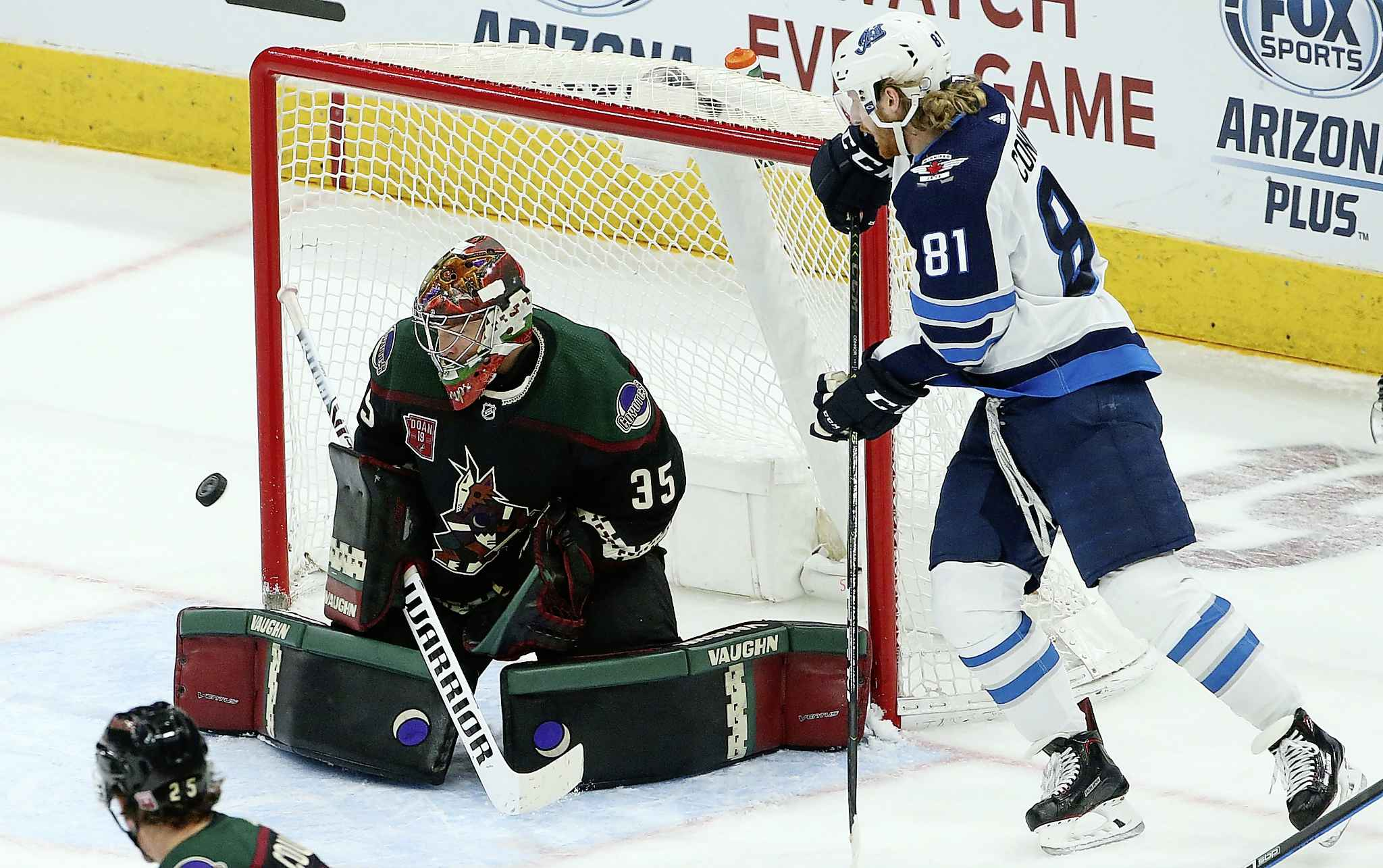 ROSS D. FRANKLIN / THE ASSOCIATED PRESS</p><p>Arizona Coyotes goaltender Darcy Kuemper (35) makes a save on a shot by Winnipeg Jets left wing Kyle Connor (81) during the second period of an NHL hockey game Sunday, Feb. 24, 2019, in Glendale, Ariz.</p>