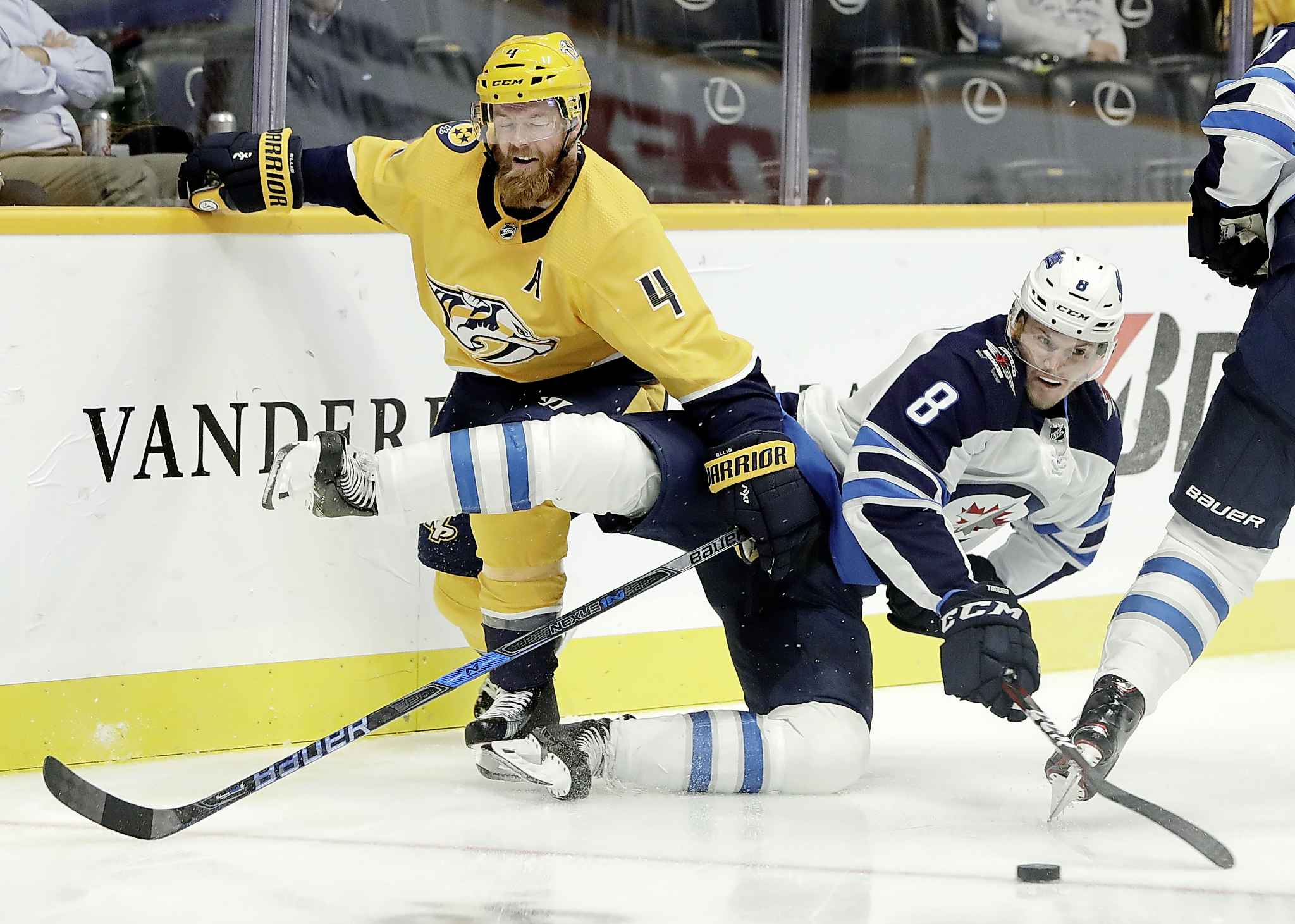 Jacob Trouba took three penalties against Nashville Thursday. (Mark Humphrey / The Associated Press)
