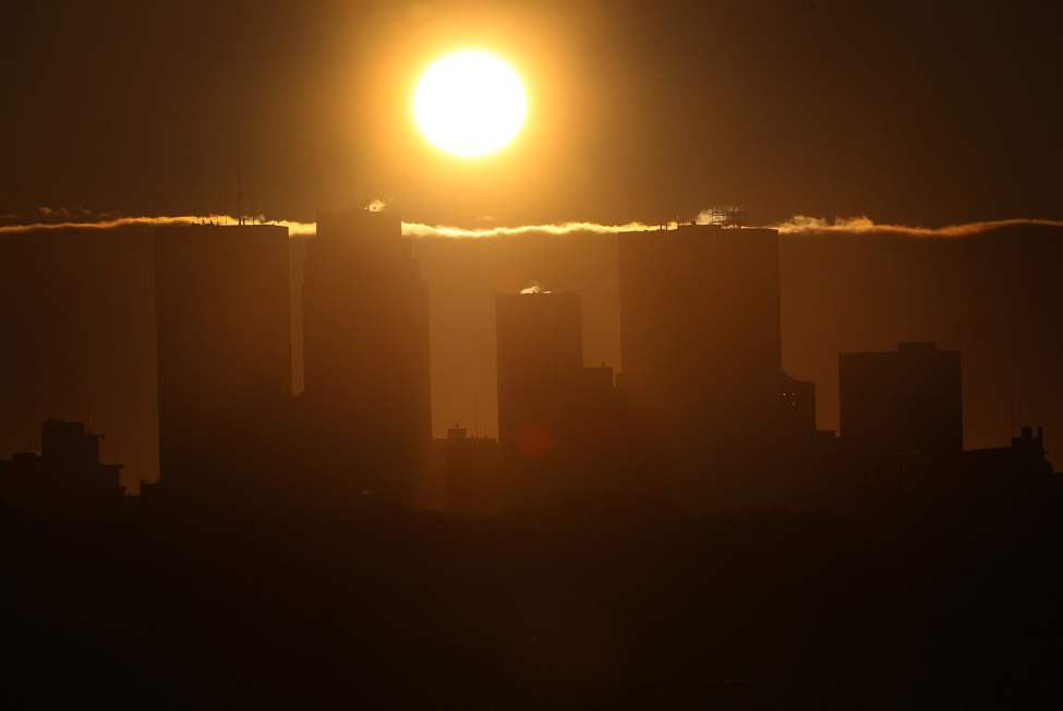 A beautiful fall sunrise appears over downtown Winnipeg.