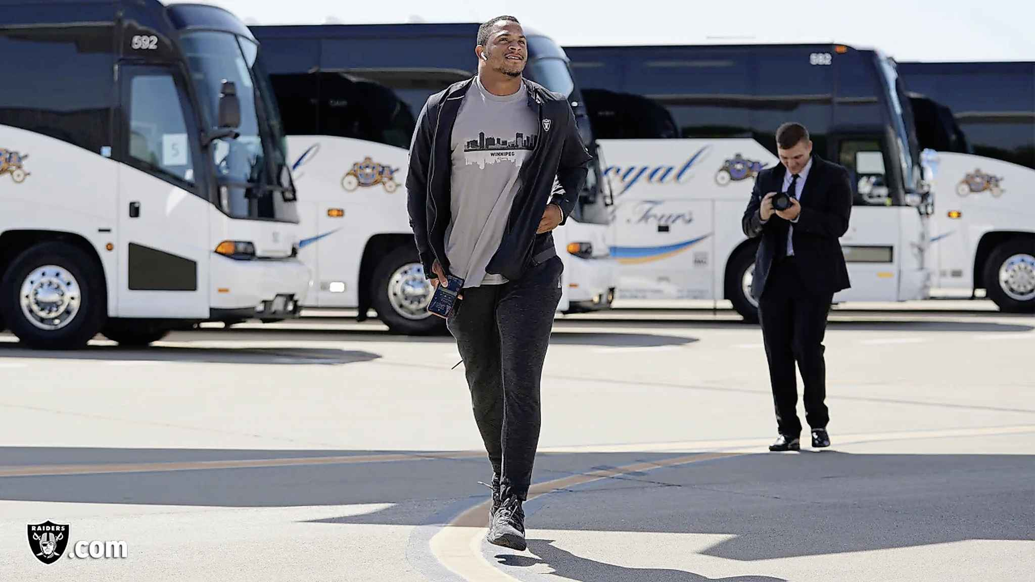 Raiders safety Johnathan Abram (24) departs for their game in Winnipeg against the Green Bay Packers . (Matt Aguirre / Oakland Raiders)