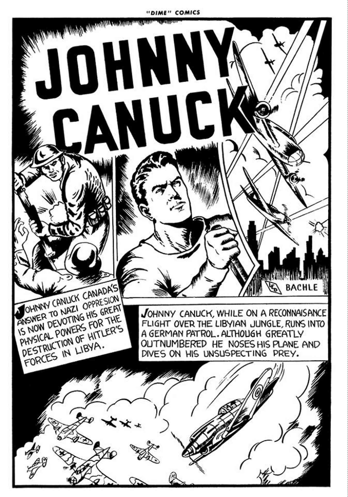 The splash page of Johnny Canuck's first adventure.