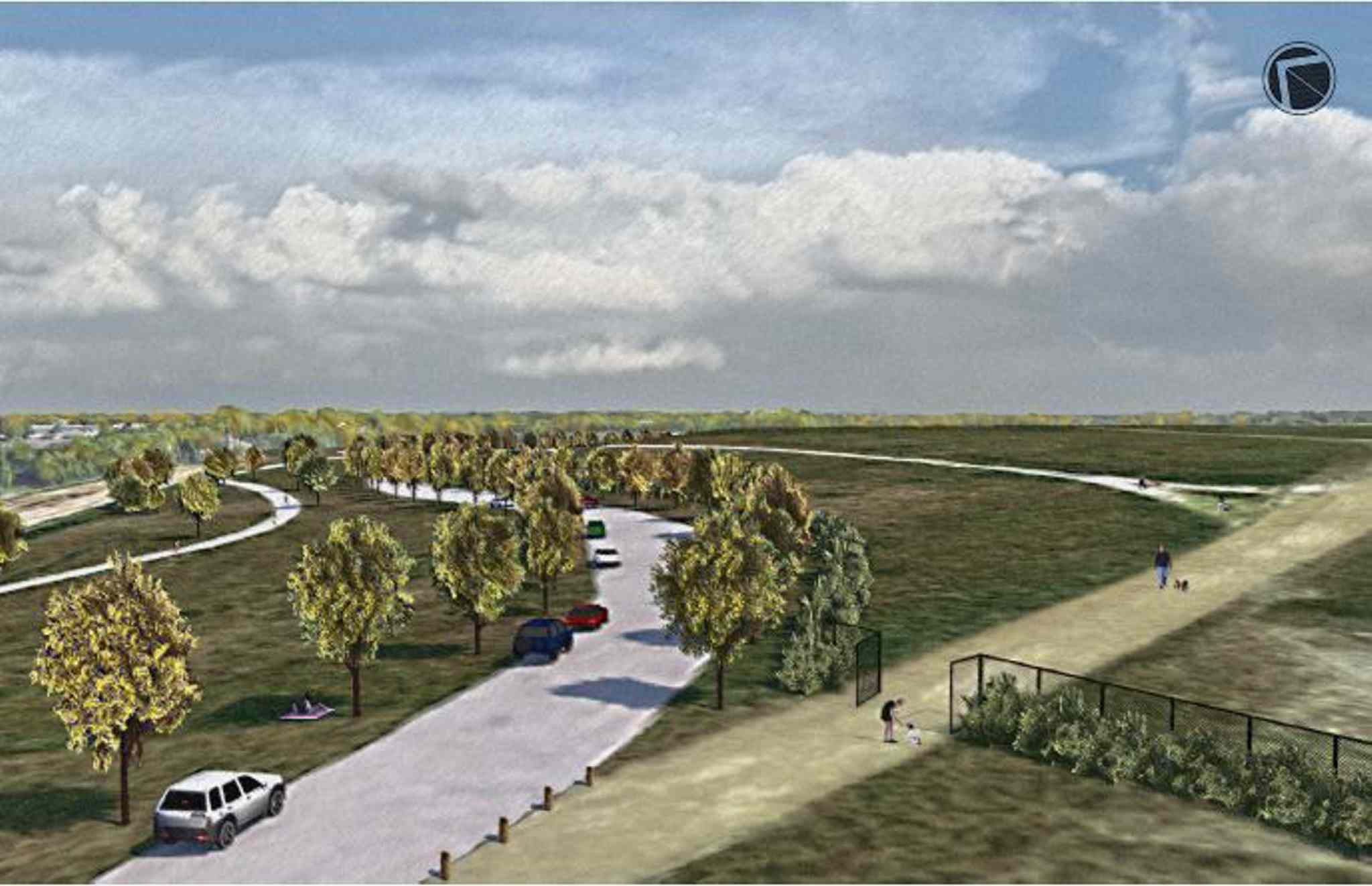 An artist's impression of the refurbished off-leash dog park at the redeveloped Kilcona Park.