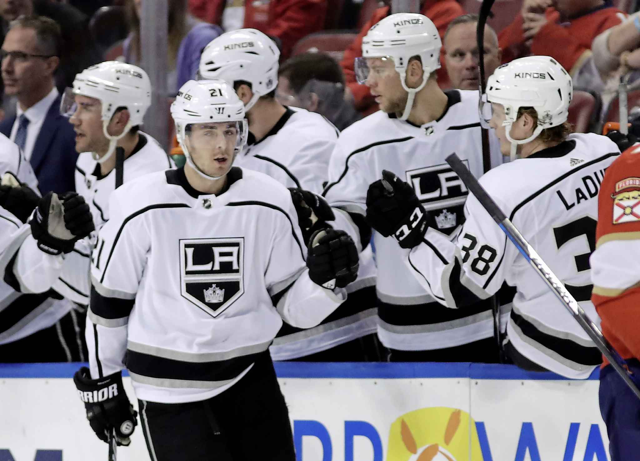 Los Angeles Kings' Nick Shore is congratulated after scoring a goal against the Florida Panthers during the  Friday, Feb. 9, 2018, in Florida. (Lynne Sladky / The Associated Press files)