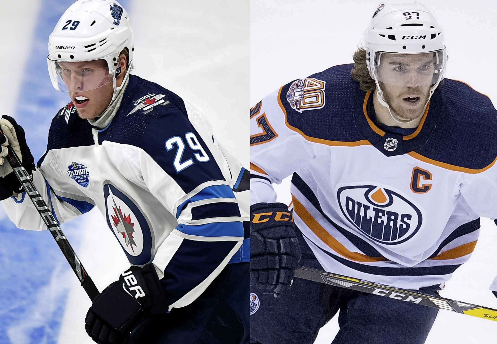 2016 second overall pick Winnipeg Jets' Patrik Laine, left, and 2015 first overall draft pick Edmonton Oilers' Connor McDavid.