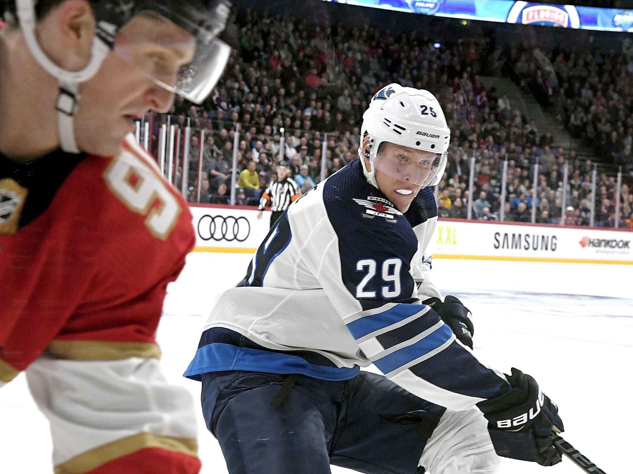 Patrik Laine of the Winnipeg Jets scored his fourth, fifth and sixth goals of the season against the Florida Panthers, Thursday.