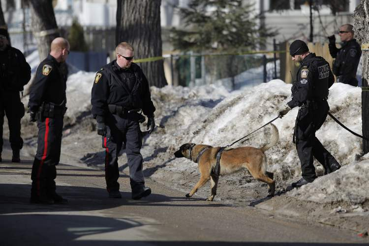 Police respond to reports of a shooting in the 500 block of Langside Street on Tuesday.