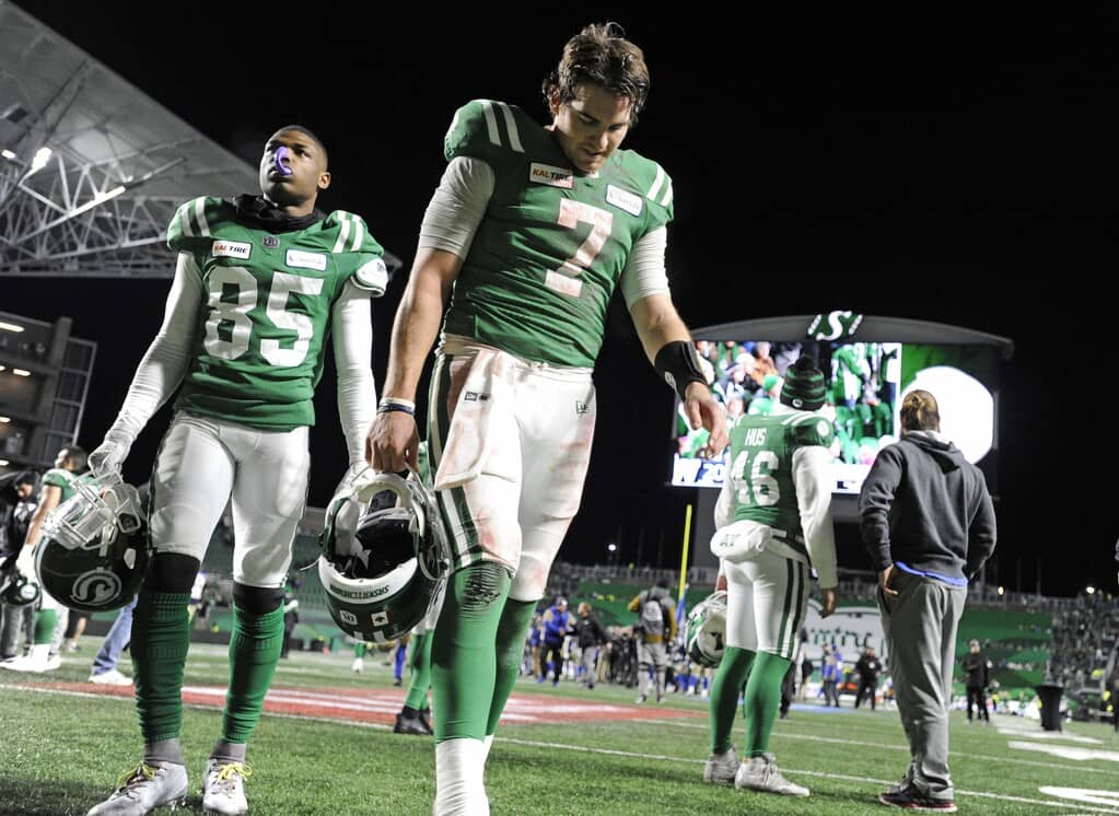 Saskatchewan Roughriders quarterback Cody Fajardo leaves the field after losing to the Winnipeg Blue Bombers in the CFL West Division final at Mosaic Stadium in 2019.