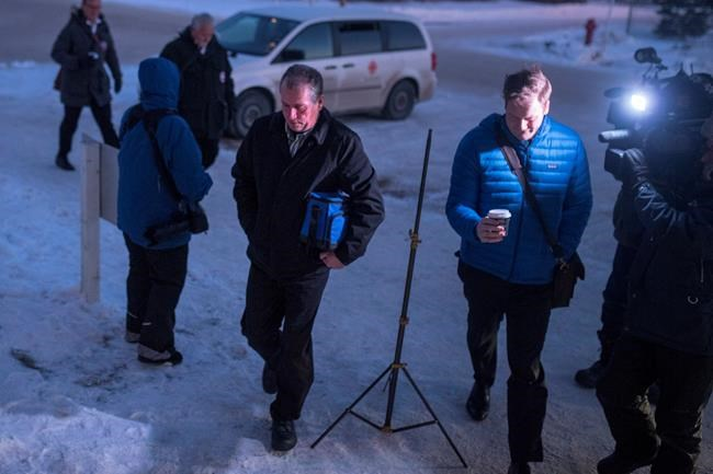 Gerald Stanley enters the Court of Queen's Bench as the jury is in deliberation in his trial, the farmer is accused of killing Colten Boushie, a 22-year-old Indigenous man, in Battleford, Sask., Friday, February 9, 2018. THE CANADIAN PRESS/Liam Richards