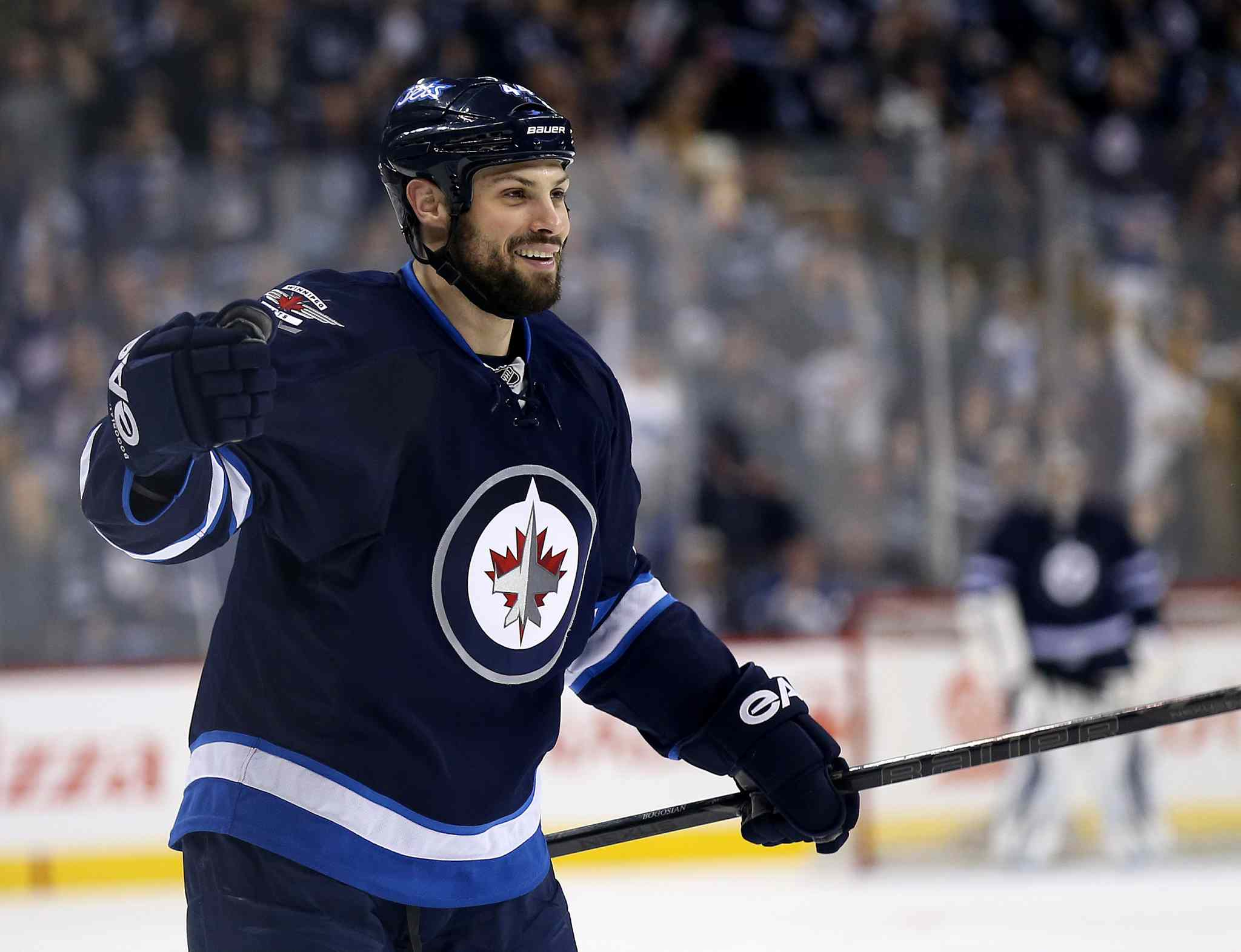 Winnipeg Jets' Zach Bogosian (44) celebrates his second-period goal against the Toronto Maple Leafs at MTS Centre Saturday.