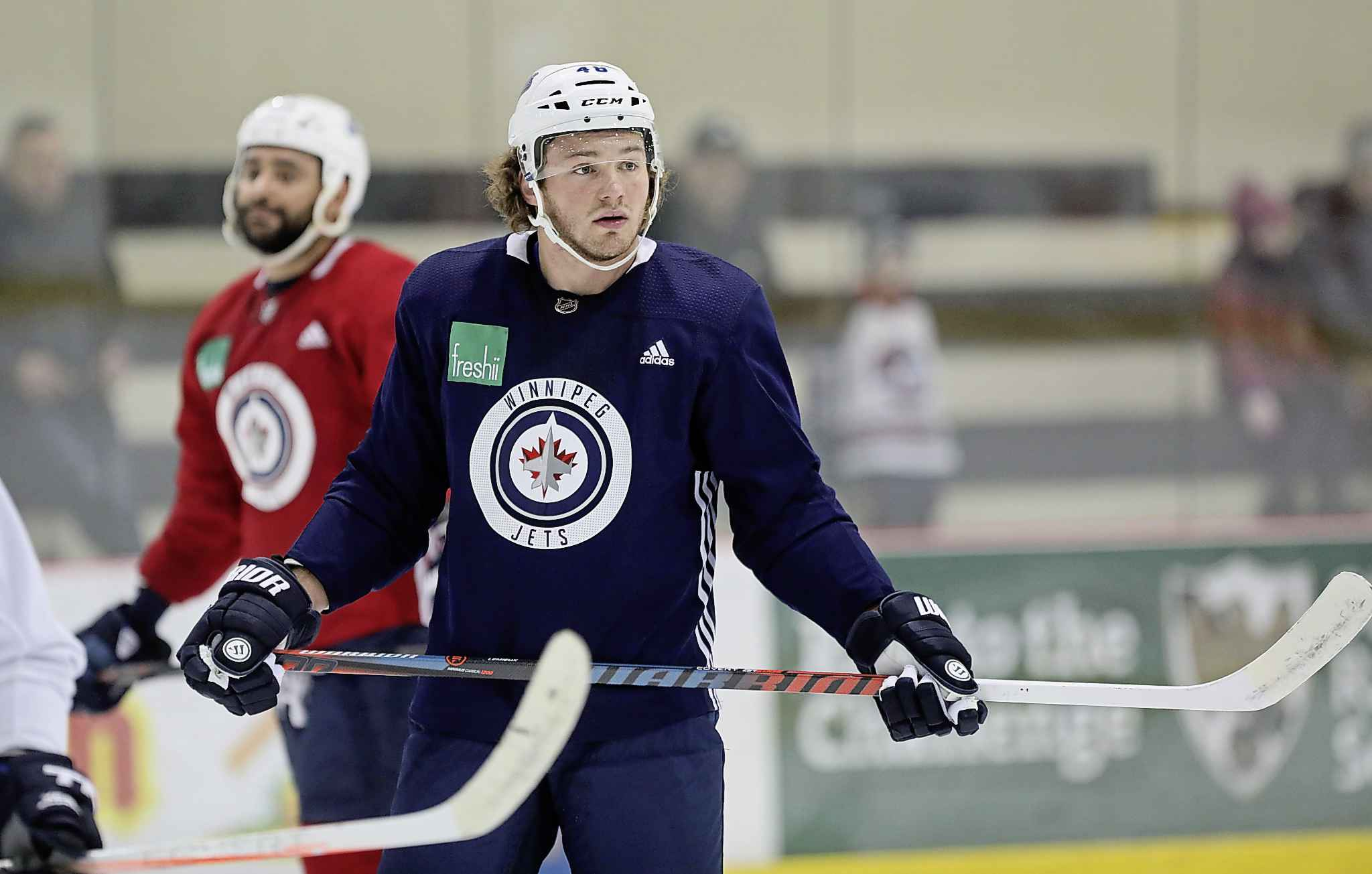Winnipeg Jets' Brendan Lemieux, at practice with team at BellMTS IcePlex, Monday.