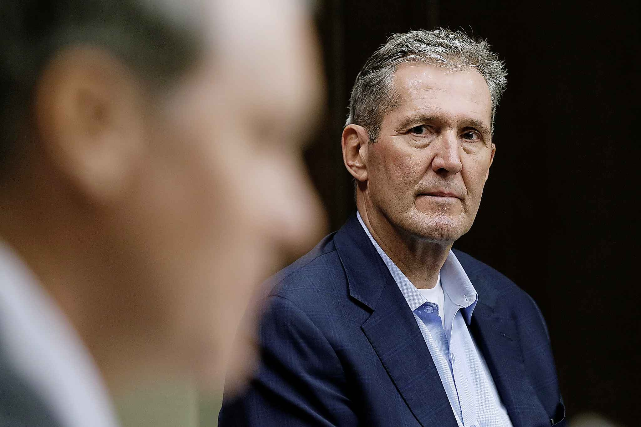 Manitoba Premier Brian Pallister (right) listens to Health Minister Cameron Friesen during a COVID-19 press conference at the Manitoba legislature in March.