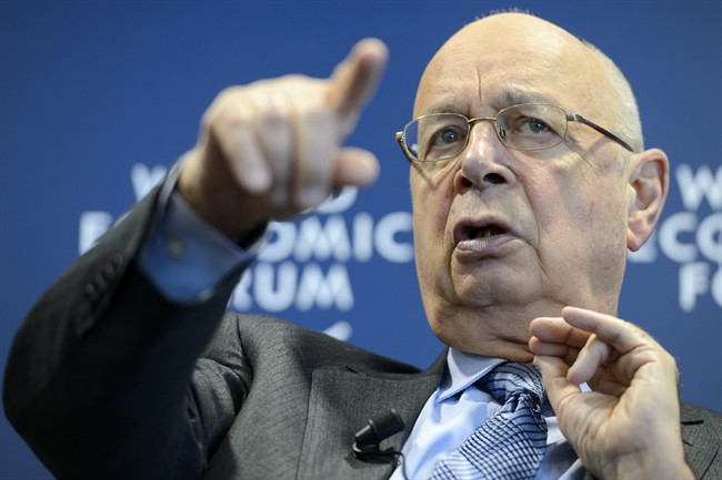 German Klaus Schwab, founder and president of the World Economic Forum, WEF, gestures during a press conference, in Cologny near Geneva, Switzerland, ... - LG106-115_2014_120816_high