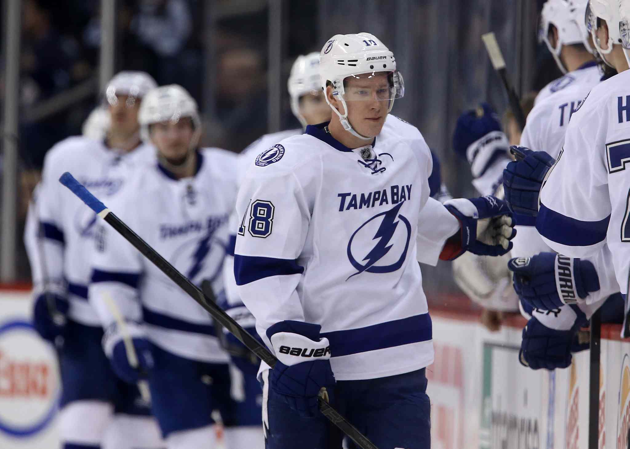 Tampa Bay Lightning's Ondrej Palat (18) celebrates his second period goal against the Winnipeg Jets.