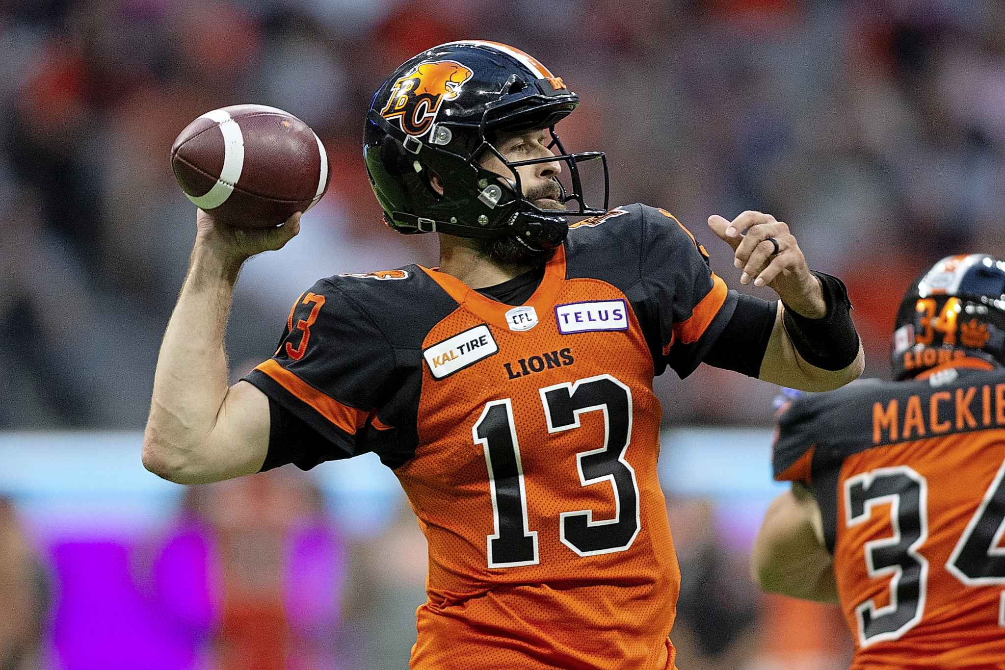B.C. Lions quarterback Mike Reilly has been sacked 29 times through the first eight games of the season.