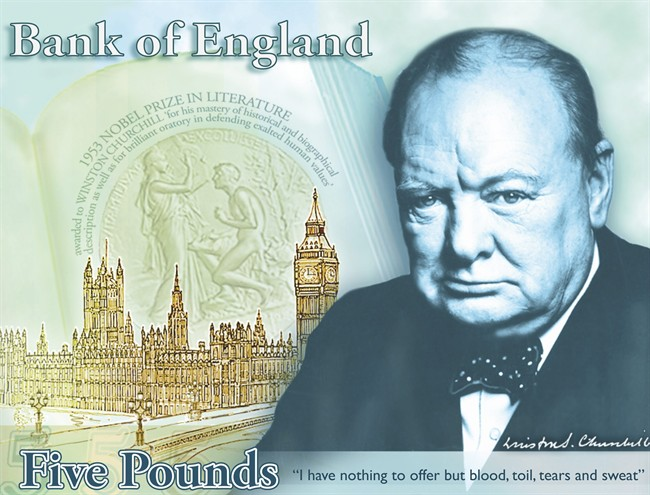 "FILE -This a a computer generated file image provided by the Bank of England Friday April 26, 2013, showing the concept design for the reverse of the new 5-pound note, with a picture of former British Prime Minister Winston Churchill. The Bank of England's chief has hinted that Jane Austen could become the new face of Britain's 10-pound note. The bank's outgoing governor, Mervyn King, told lawmakers Tuesday, June 25, 2013, that the ""Pride and Prejudice"" novelist is the leading candidate to replace Charles Darwin on the banknote. King's comments came after the bank earlier announced it will replace social reformer Elizabeth Fry with Winston Churchill on the 5-pound note, a move that prompted outcries that no woman except Queen Elizabeth II would be represented on Bank of England bills.(AP Photo/Bank of England, File)"