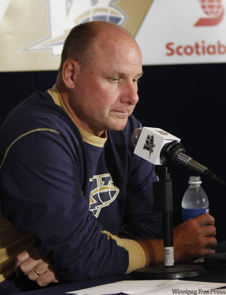 Winnipeg Blue Bomber Head Coach Paul LaPolice speaks to reporters the day after his defensive line and assistant head coach Richard Harris died suddenly.