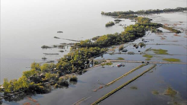 An aerial view of the storm damage at Twin Lakes Beach, along the south shore of Lake Manitoba, in early June 2011.