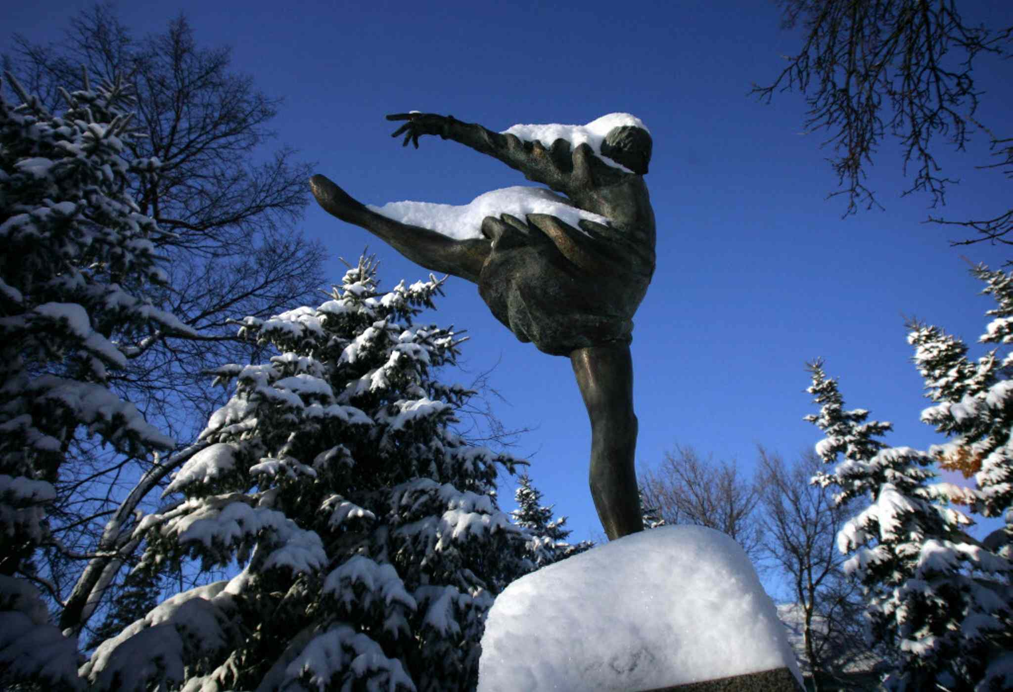 One of the life-size bronze sculptures in the Leo Mol Sculpture Garden.