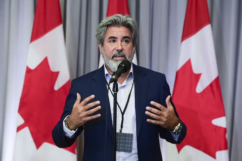 Government House Leader Pablo Rodriquez speaks with the media on the first day of a Liberal cabinet retreat in Ottawa. (Sean Kilpatrick / The Canadian Press)