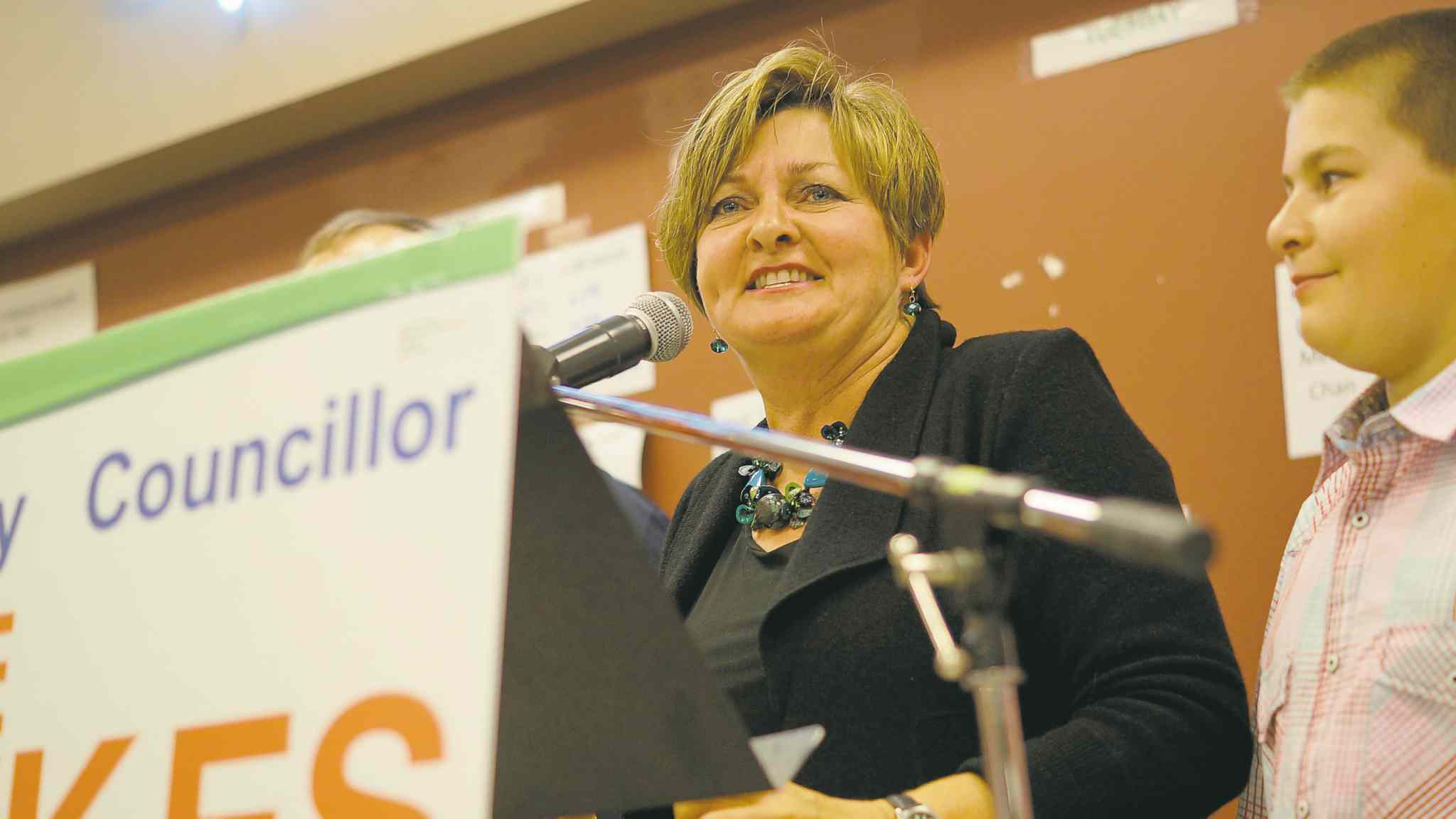 Newly elected St. Norbert councillor Janice Lukes thanks her supporters during her victory speech Wednesday night.