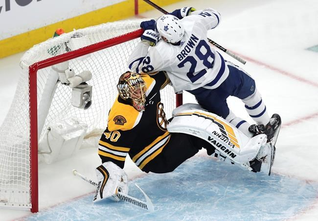 Toronto Maple Leafs right wing Connor Brown (28) knocks over Boston Bruins goaltender Tuukka Rask (40) during the first period of an NHL playoff hockey game Thursday, April 11, 2019 in Boston. (AP Photo/Charles Krupa)