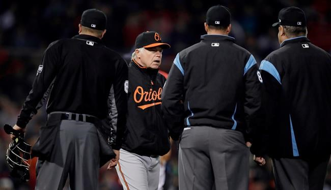 Baltimore Orioles manager Buck Showalter, second from left, confers with umpires after challenging an out call during the sixth inning of a baseball game against the Boston Red Sox at Fenway Park in Boston, Friday, April 13, 2018. (AP Photo/Charles Krupa)