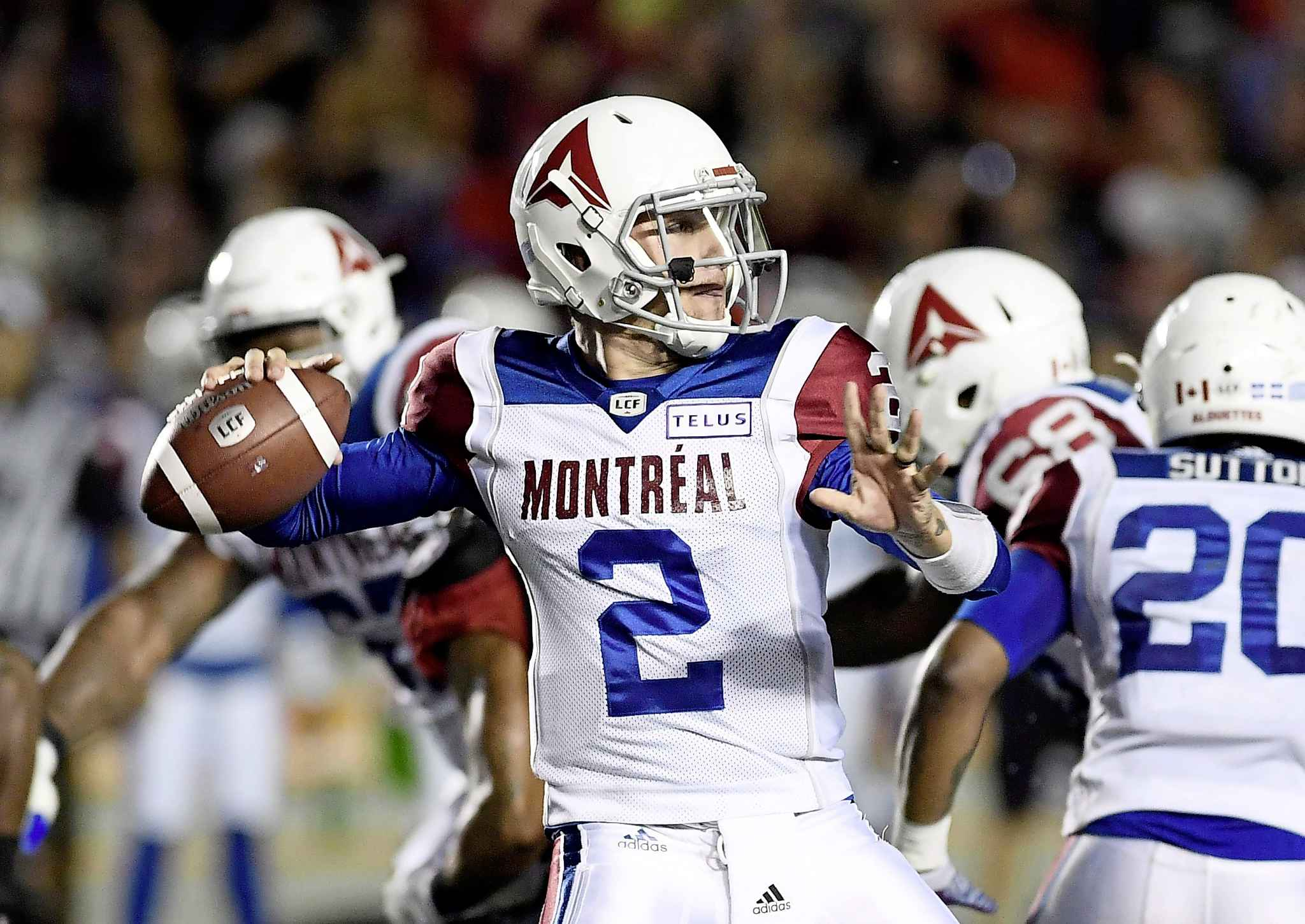 Montreal Alouettes quarterback Johnny Manziel makes a pass from the pocket. His mobility will be something the Bombers defence will have to be aware of.