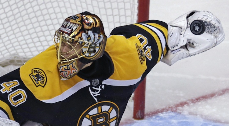 Boston Bruins goalie Tuukka Rask looks the wrong way for the rebound during the third period. (Charles Krupa / The Associated Press)