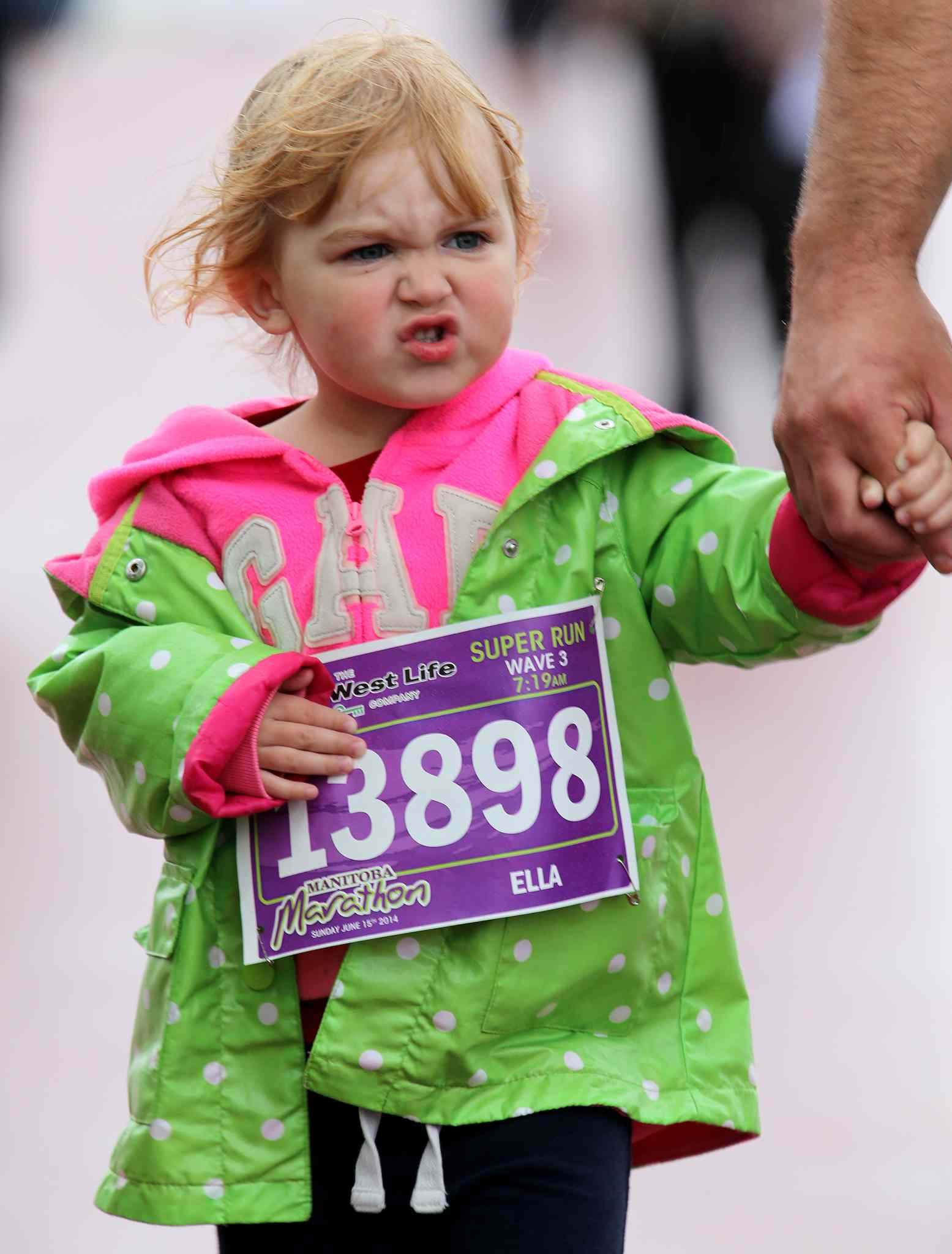 A young Super Run participant doesn't appear to like it.