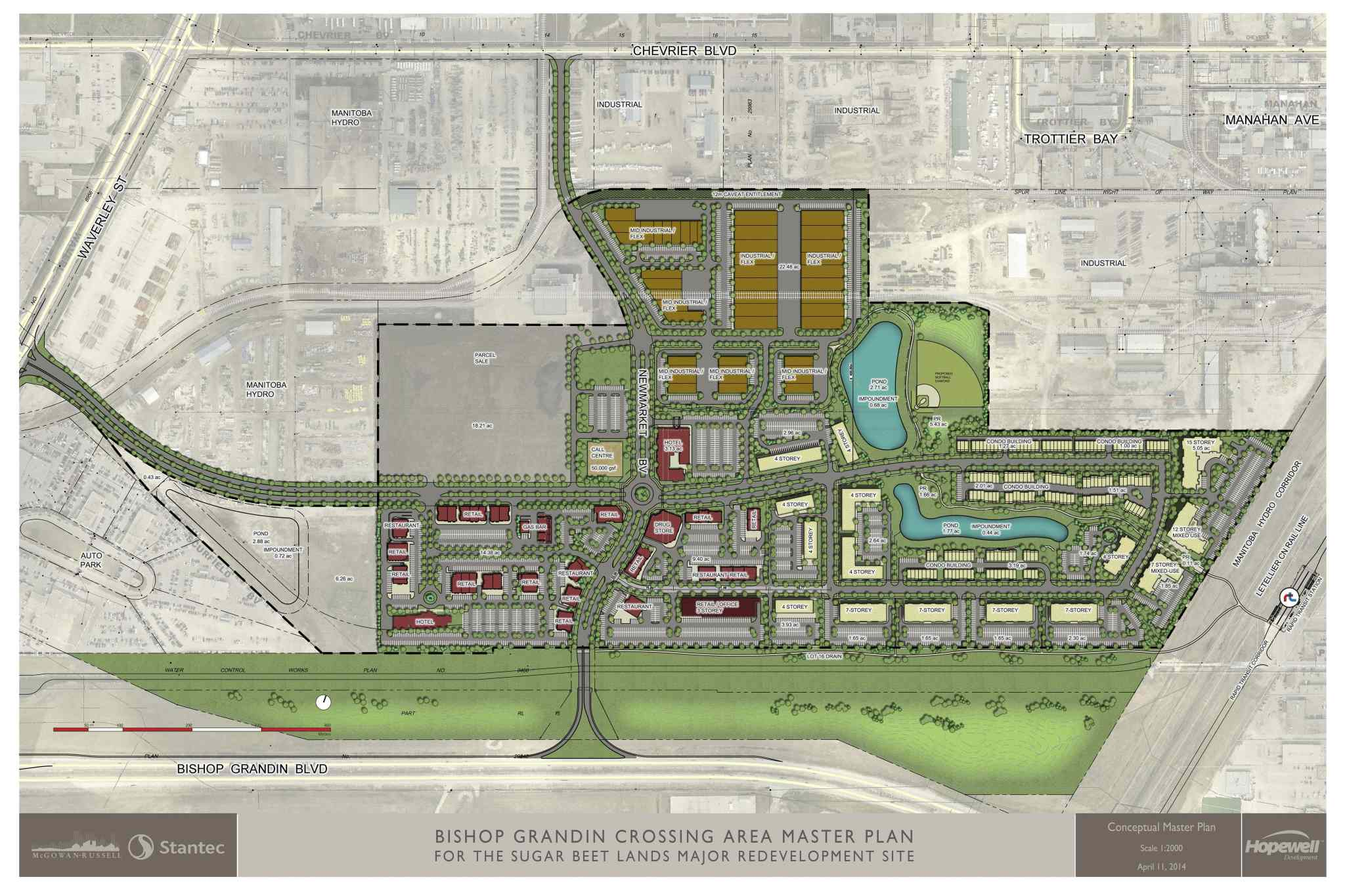 The 53-hectare Bishop Grandin Crossing is expected to include at least 1,400 multi-family units in addition to retail and industrial development.