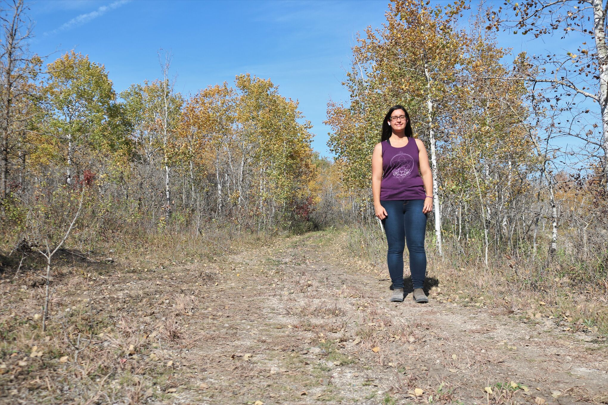 RM of Tache Recreation Manager Lisa Woods at the site of the Monominto Hiking Trail, a three-trail system in Ste Genevieve set to open at the end of the month.