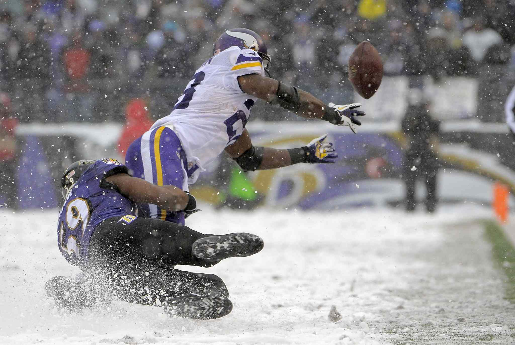Baltimore Ravens linebacker Arthur Brown (left) tackles Minnesota Vikings running back Adrian Peterson, who fumbles the football as he falls and is injured during the second quarter. The Ravens beat the Vikings 29-26.
