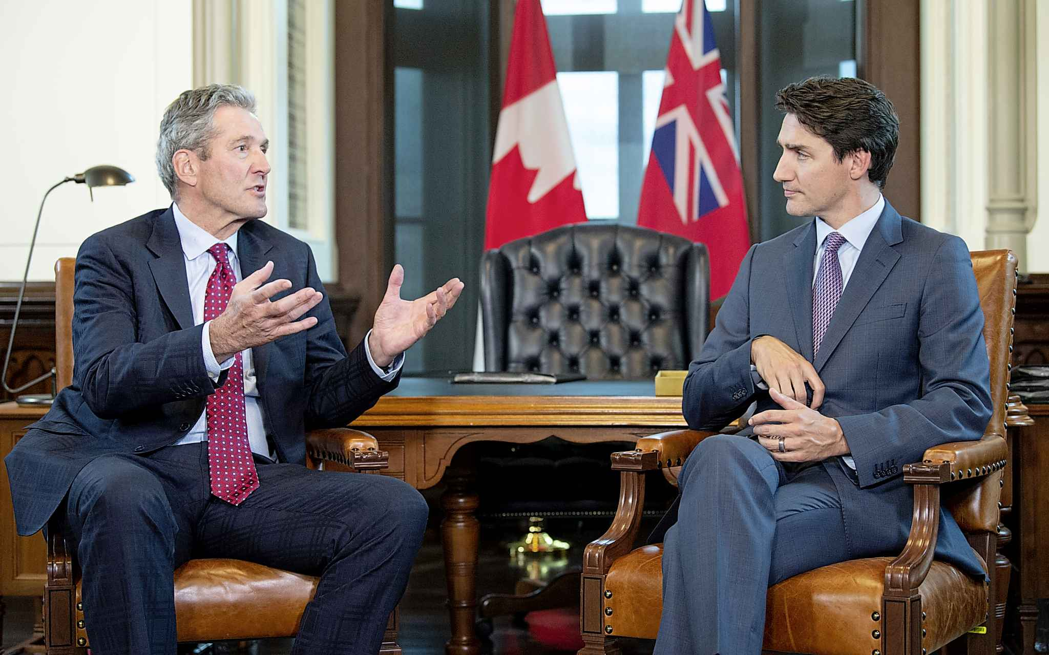 Prime Minister Justin Trudeau meets with Manitoba Premier Brian Pallister, left, on Parliament Hill, in Ottawa on Wednesday, May 29.