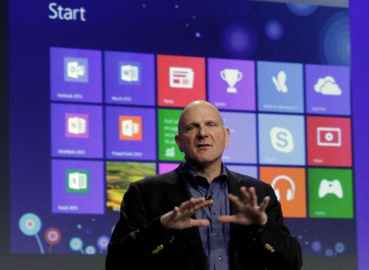 Microsoft CEO Steve Ballmer gives his presentation at the launch of Windows 8.