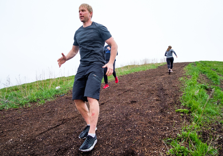 Fittness coach Richard Burr, who works with dozens of Manitoba-based hockey players at his Winnipeg fitness facility, runs backwards up a steep incline as part of a workout in Winnipeg last summer.