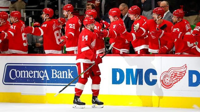 Detroit Red Wings center Robby Fabbri (14) celebrates his goal against the Winnipeg Jets in the first period of an NHL hockey game Thursday, Dec. 12, 2019, in Detroit. (AP Photo/Paul Sancya)