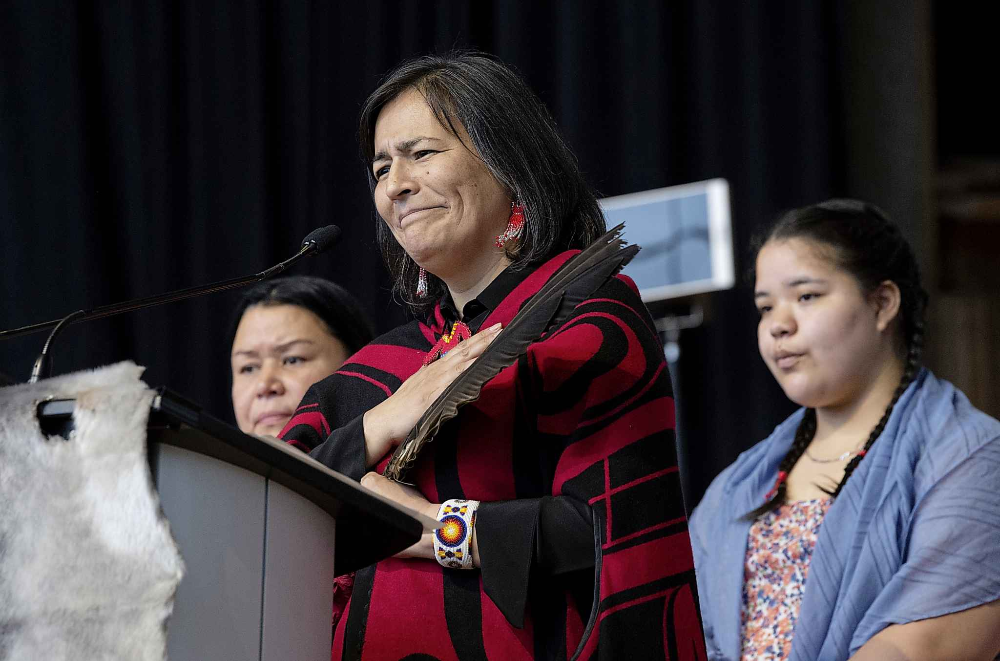 Commissioner Michele Audette speaks during ceremonies marking the release of the Missing and Murdered Indigenous Women report in Gatineau, Monday. THE CANADIAN PRESS/Adrian Wyld